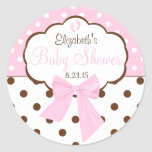 Pink and Brown Polka Dots-Baby Shower Stickers