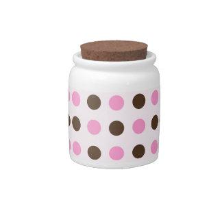 Pink and Brown Polka Dots Candy Jars