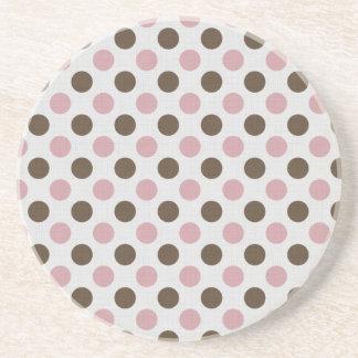 Pink And Brown Polka Dots Drink Coaster