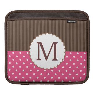Pink And Brown Polka Dots Stripes Monogram iPad Sleeve