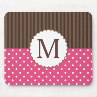 Pink And Brown Polka Dots Stripes Monogram Mouse Pad
