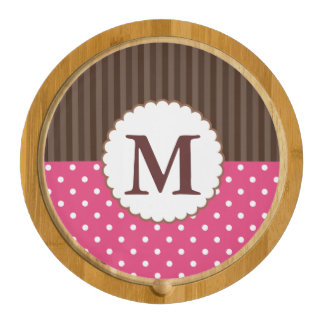 Pink And Brown Polka Dots Stripes Monogram Round Cheese Board