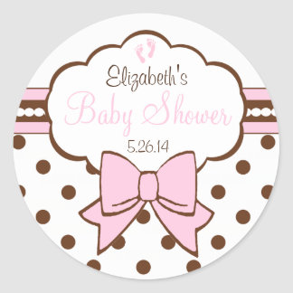 Pink and Brown Polka Dots With Baby Footprints Classic Round Sticker