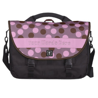 Pink and Brown Polka Dots With Stripe Laptop Bag