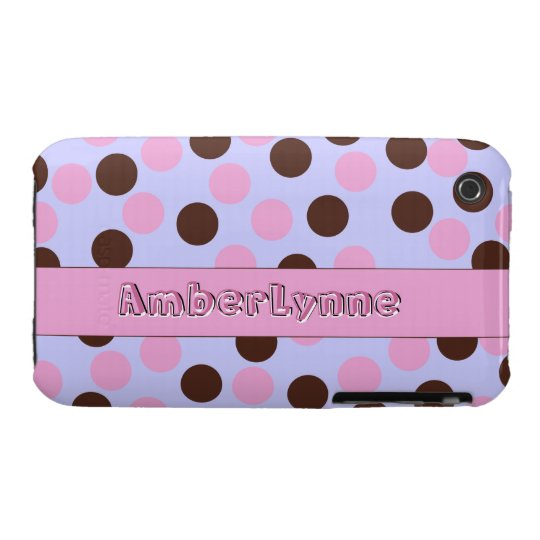 Pink and Brown Polka Dots with Text iPhone 3 Cover
