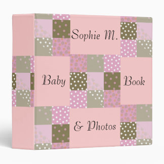 Pink and Brown Quilt Squares 3 Ring Binder
