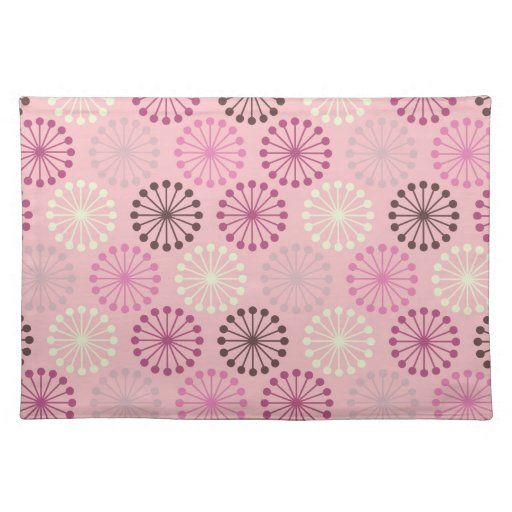 Pink and Brown Retro Abstract Cloth Place Mat