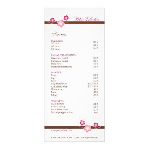 Pink and Brown Sakura Spa Menu Template Rack Card