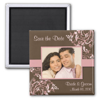 Pink and Brown Save the Date Photo Magnets