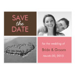 Pink and Brown Save the Date Photo Postcards