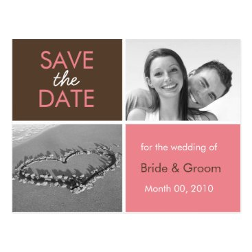 Beach Themed Pink and Brown Save the Date Photo Postcards