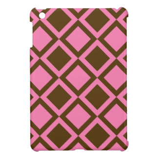 pink and brown squares or diamonds iPad mini cases
