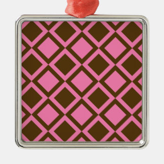 pink and brown squares or diamonds metal ornament