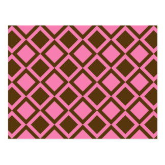 pink and brown squares or diamonds postcard