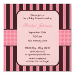 Pink and Brown Stripe Baby Shower Invitation