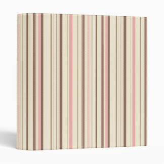 Pink and Brown Stripe Pattern Binder