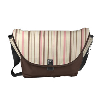 Pink and Brown Stripe Pattern Messenger Bags