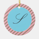 PINK AND BROWN STRIPES MONOGRAM ORNAMENT