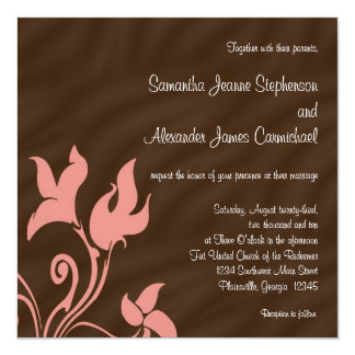 """Pink and Brown Swirl 5.25"""" Square Invitation Card"""