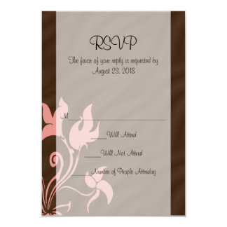 """Pink and Brown Swirl Make-Up Artist or Salon 3.5"""" X 5"""" Invitation Card"""
