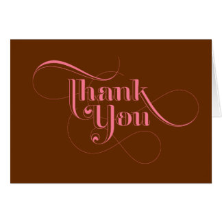 Pink and Brown Thank You Cards