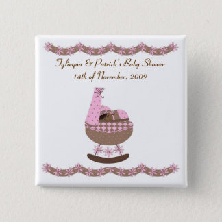 pink and brown themed Baby Shower Pinback Button
