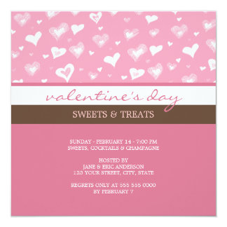 """Pink And Brown Valentine's Day party invitation 5.25"""" Square Invitation Card"""