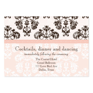 Pink and Brown Vintage Damask Wedding Reception Ca Business Card Templates