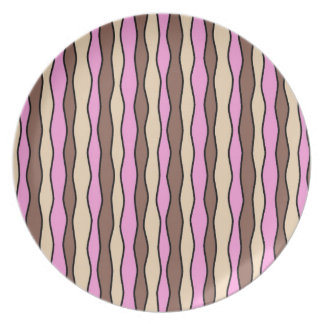 Pink and Brown Wavy Stripes Party Plates