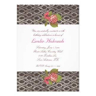 Pink and Brown Women's Birthday Invitation