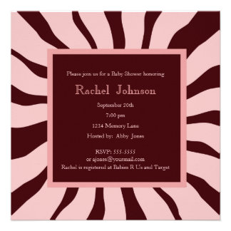 Pink and Brown Zebra Baby Shower Invitation