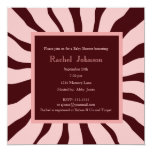 Pink and Brown Zebra Baby Shower Invitation