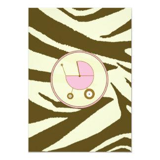 Pink and Brown Zebra Print Baby Shower Invitation