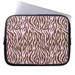 Pink and Brown Zebra Print Laptop Computer Sleeve