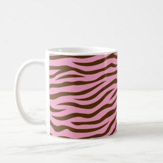 Pink and Brown Zebra Stripes Animal Print Classic White Coffee Mug
