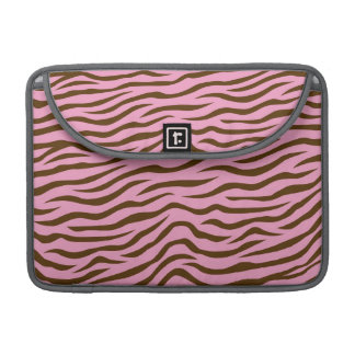 Pink and Brown Zebra Stripes Animal Print Sleeve For MacBook Pro