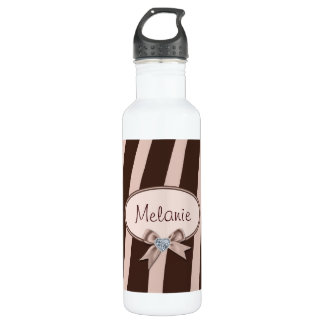 Pink and Brown Zebra Stripes with Diamond Ribbon Stainless Steel Water Bottle
