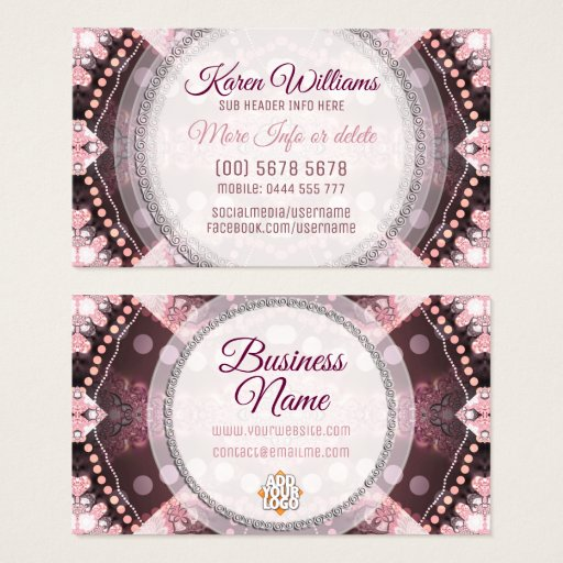 Pink and Burgundy Alternative Tribal Business Card