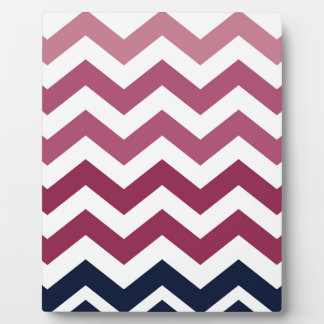 Pink And Burgundy Chevron Stripes Plaque