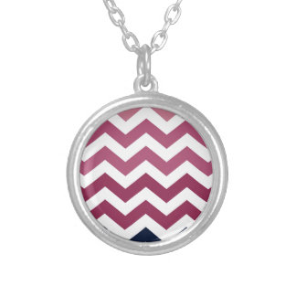 Pink And Burgundy Chevron Stripes Silver Plated Necklace