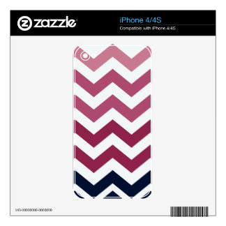 Pink And Burgundy Chevron Stripes Skins For iPhone 4