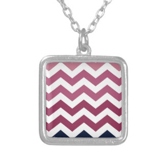 Pink And Burgundy Chevron Stripes Square Pendant Necklace