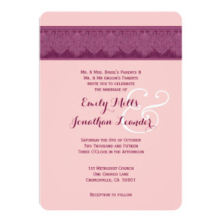 PINK and BURGUNDY Damask Wedding Template V25 Custom Announcements