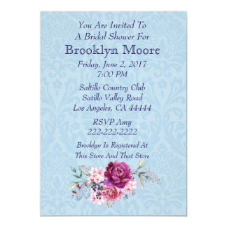 Pink and Burgundy Floral Bouquet Bridal Shower Card