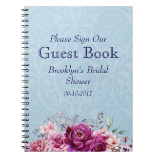 Pink and Burgundy Floral Bridal Shower Guest Book Notebook
