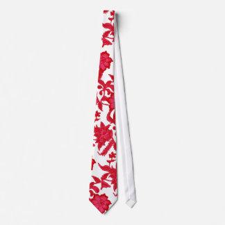 pink and burgundy hawaiian floral tie