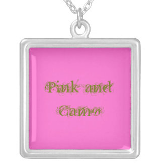 Pink and Camo Silver Plated Necklace