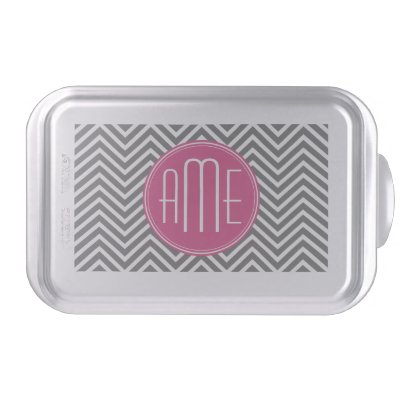 Pink and Charcoal Chevron Pattern Custom Monogram Cake Pan