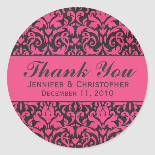 Pink and Charcoal Damask Round Wedding Labels