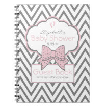 Pink and Chevron- Baby Shower Guest Book- Notebook